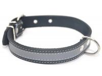 Нашийник для собак Zoo-hunt шкіряний зі світловідбивачем ОО чорний