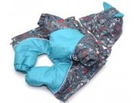 Комбінезон з капюшоном для собак Амур на підкладці omni-heat сірий + бірюза №2 35х54 см