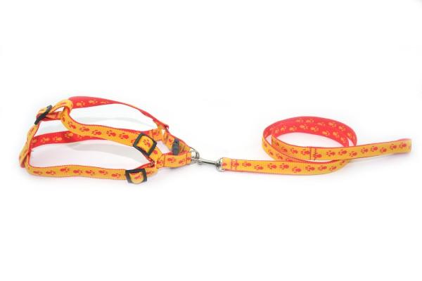Комплект капроновий Лапки для собак і котів Zoo-hunt 1,0 см 120 см червоно-жовті