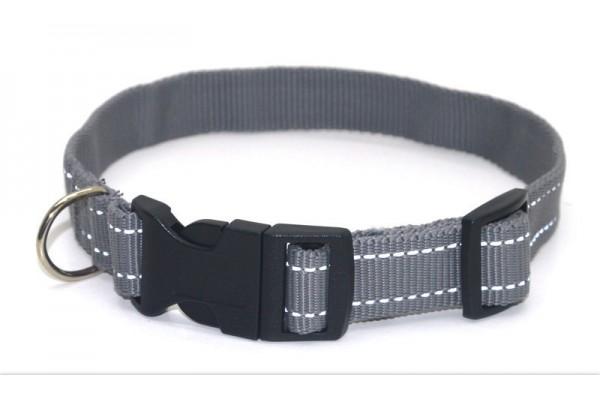 Нашийник для собак Zoo-hunt капроновий світловідбиваючий Неон ок 2,5 сірий